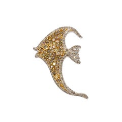 Multi-Color Natural Diamond 18 Karat White and Yellow Gold Fish Brooch