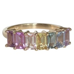 Multi-Color Untreated Sapphire Half Eternity Engagement Band Ring Yellow Gold