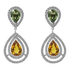 Multi-Color Pear Shape Sapphire and Diamond Halo Dangle Earrings