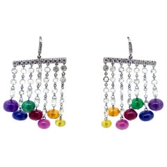 Multi-Color Precious Stones and White Diamonds Dangle Earrings