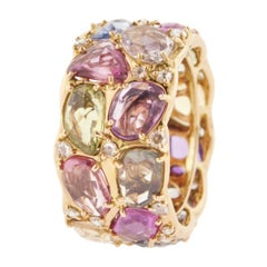 Multi-Color Rose-Cut Sapphire Diamond and Gold Cocktail Ring