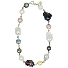 Multi-Color Round and Baroque Pearl Sterling Silver Link Collar Necklace