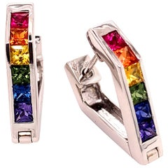 Multi-Color Sapphire 18 Karat White Gold Hoop Earrings