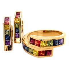 Multi-Color Sapphire 18 Karat Yellow Gold Hoop Earrings