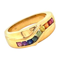 Multi-Color Sapphire 18 Karat Yellow Gold Ring