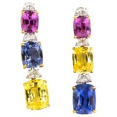 Multi-Color Sapphire 25.8 Carat and Diamonds 1.6 Carat Earrings