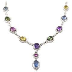 Multi-Color Sapphire and Diamond 18 Karat White Gold Necklace