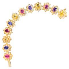 Multi-Color Sapphire and Diamond Bracelet