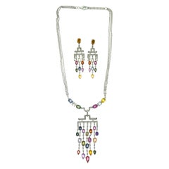 Multi-Color Sapphire and Diamond Chandelier Necklace and Earring White Gold Set