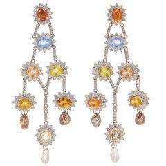 Multi-Color Sapphire and Diamond Girandole Chandelier Earrings