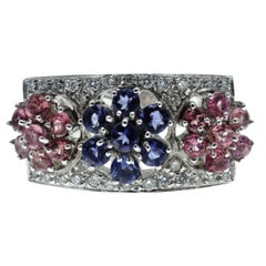 Multi-Color Sapphire and Diamond Gold Ring