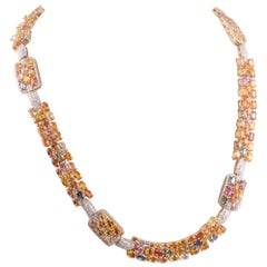 Multi-Color Sapphire and Diamond Necklace
