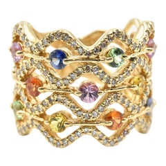 Multi-Color Sapphire and Diamond Ring 14 Karat Yellow Gold Ring