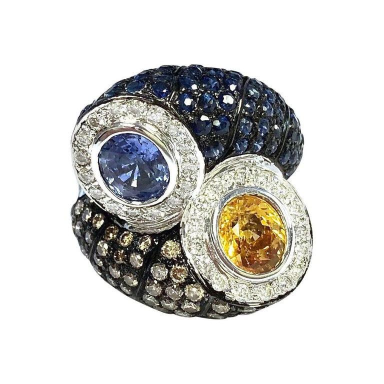 Multi-Color Sapphire and Diamond Toi et Moi Style Ring