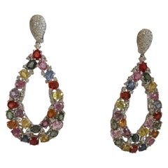 Multi-Color Sapphire and Diamonds Earrings Set in 18 Karat White Gold