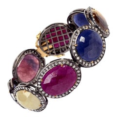 Multi Color Sapphire and Ruby Tennis Bracelet with Diamonds Set in Gold & Silver