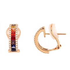 Multi-Color Sapphire and White Diamond Earrings
