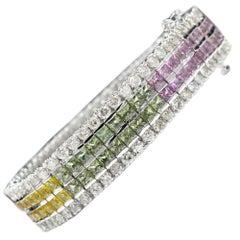 Multi-Color Sapphire Bracelet 14 Karat White Gold with Diamonds