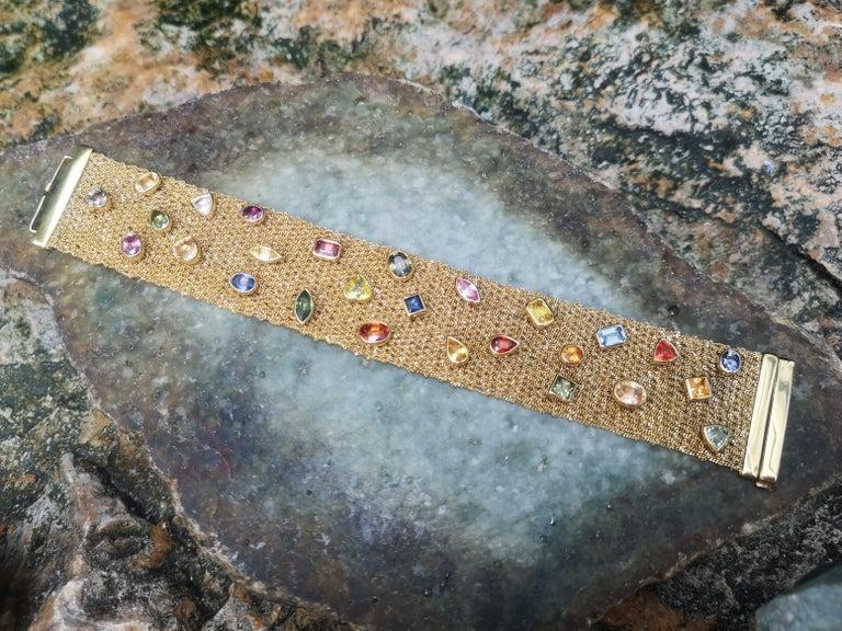 Multi-Color Sapphire Bracelet Set in 18 Karat Gold Settings For Sale 4
