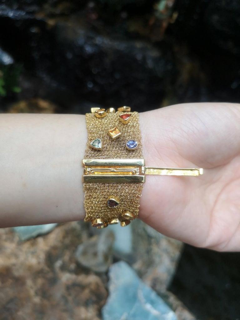 Contemporary Multi-Color Sapphire Bracelet Set in 18 Karat Gold Settings For Sale