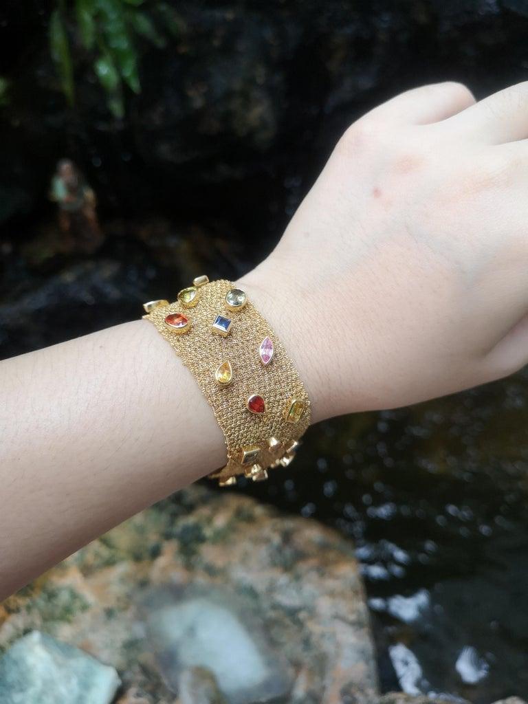 Mixed Cut Multi-Color Sapphire Bracelet Set in 18 Karat Gold Settings For Sale