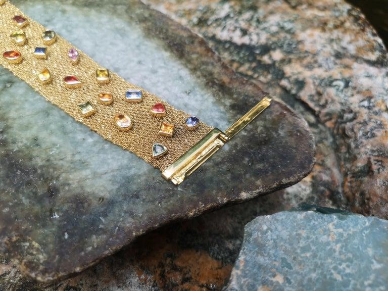 Women's Multi-Color Sapphire Bracelet Set in 18 Karat Gold Settings For Sale