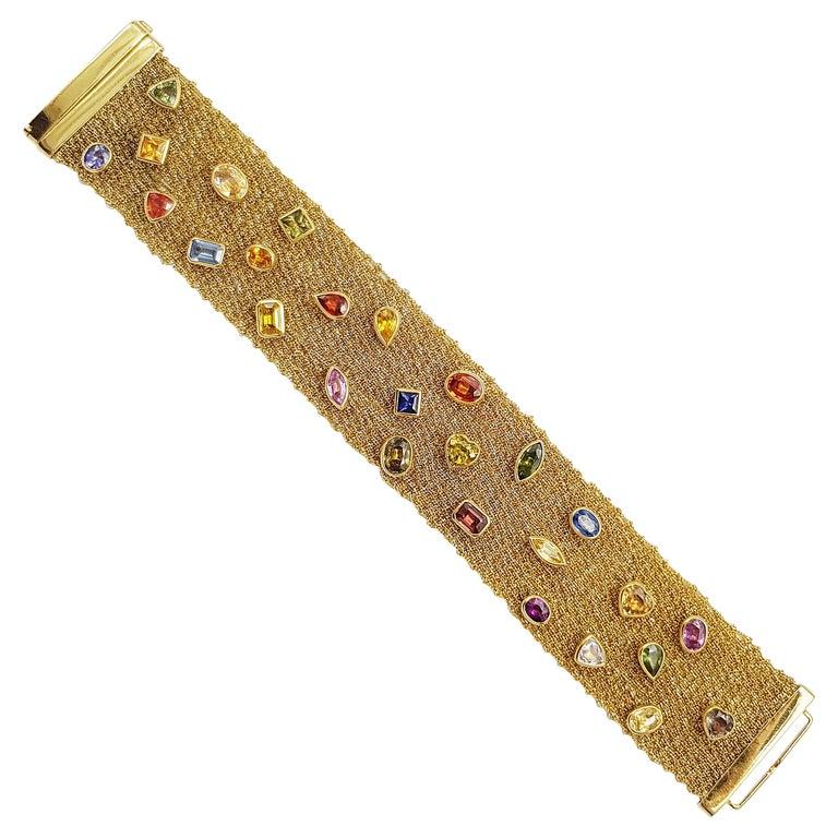 Multi-Color Sapphire Bracelet Set in 18 Karat Gold Settings For Sale