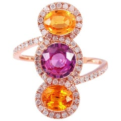 Multi-Color Sapphire Diamond 18 Karat Cocktail Ring