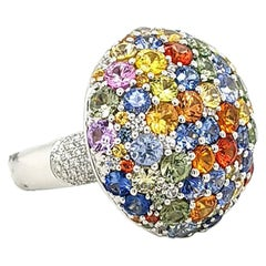 Multi-Color Sapphire Diamond 18 Karat Gold Ring