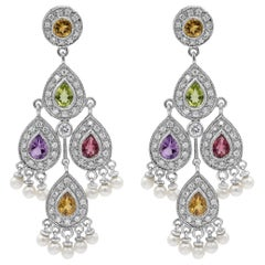 Multi-Color Sapphire, Diamond and Pearl Chandelier Earrings