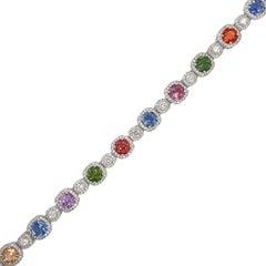 Multi Color Sapphire & Diamond Bracelet in 18K White Gold