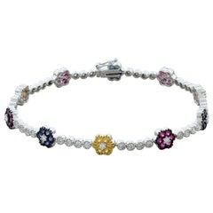 Multi-Color Sapphire Diamond Gold Flower Bracelet