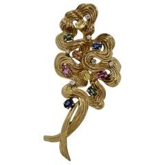 Multi-Color Sapphire Diamond Gold Swirl Brooch