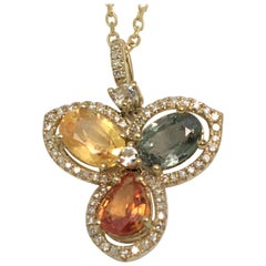 Multi-Color Sapphire Diamond Necklace