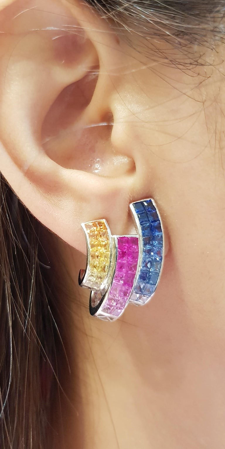 Rainbow Colour Sapphire 10.06 carats Earrings set in 18 Karat White Gold Settings  Width:  1.6 cm  Length: 2.5 cm Total Weight: 14.51 grams