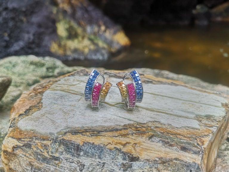 Princess Cut Multi-Color Sapphire Earrings Set in 18 Karat White Gold Setting For Sale