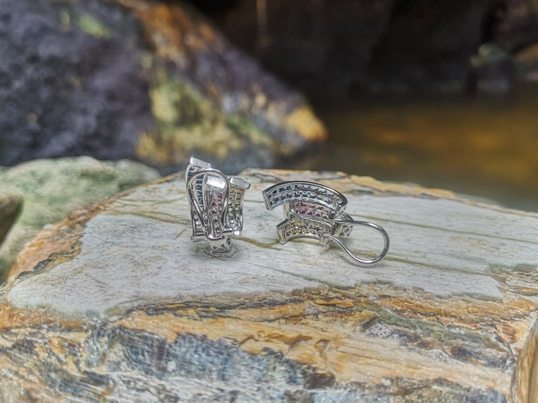 Multi-Color Sapphire Earrings Set in 18 Karat White Gold Setting For Sale 1