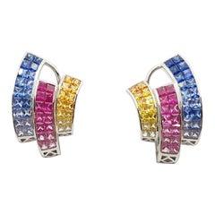 Multi-Color Sapphire Earrings Set in 18 Karat White Gold Setting