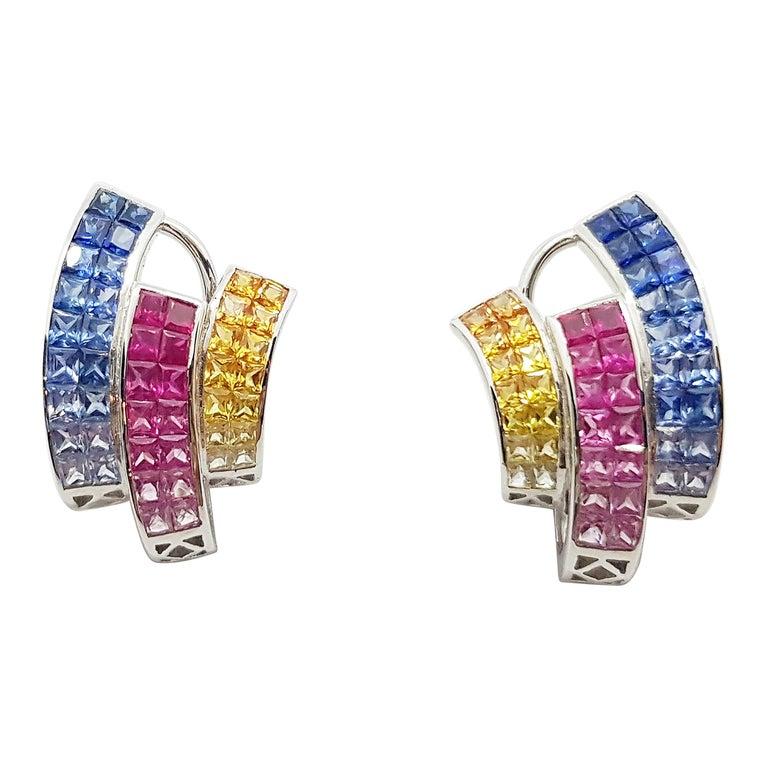 Multi-Color Sapphire Earrings Set in 18 Karat White Gold Setting For Sale
