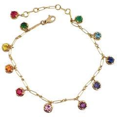 Multi-Color Sapphire Emerald Gemstone Handmade Bracelet 18 Karat Gold