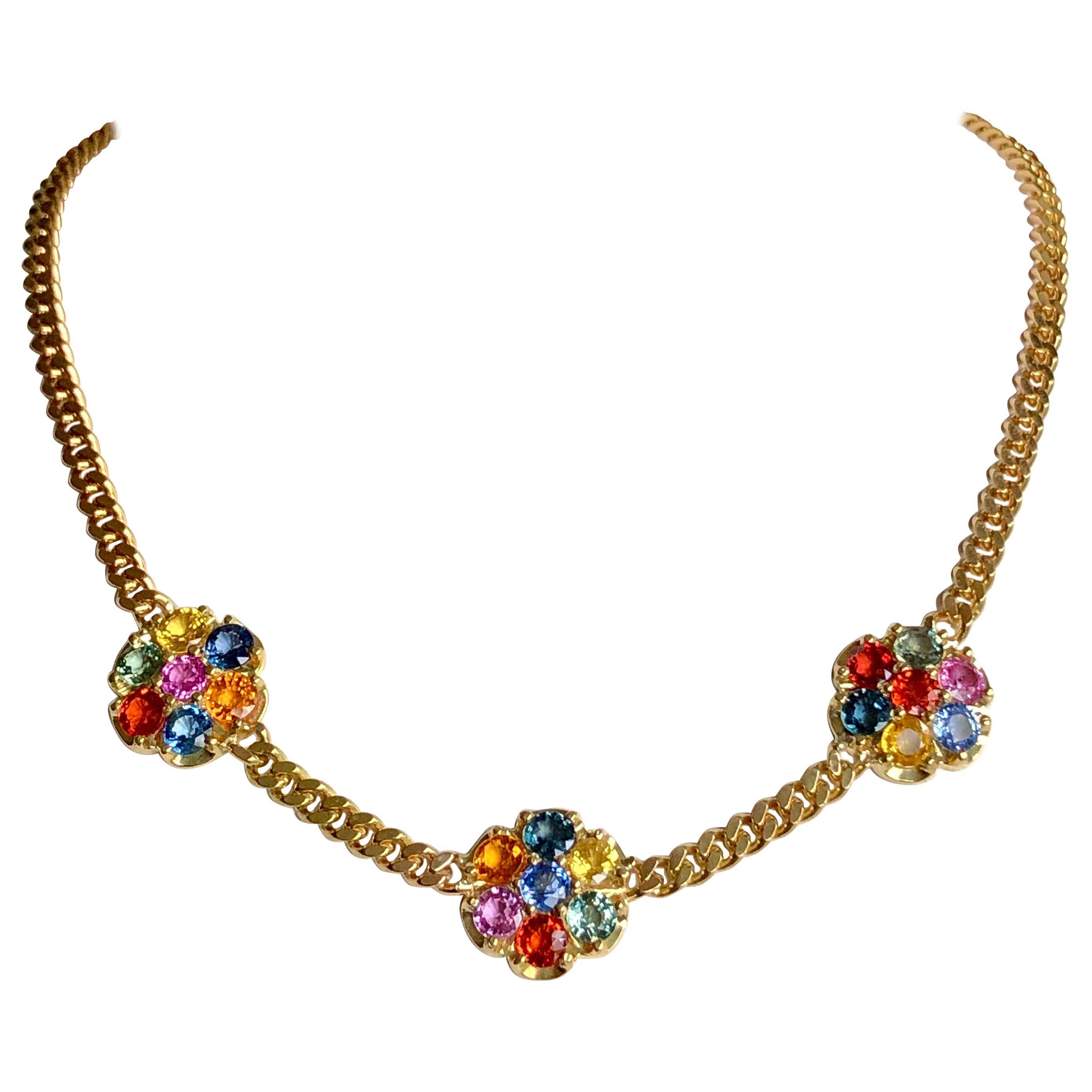 13.50 Carat Multi-Color Sapphire Flower Chain Link Necklace 18K