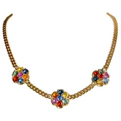 13.50 Carat Multi-Color Sapphire Flower Chain Link Necklace 18K