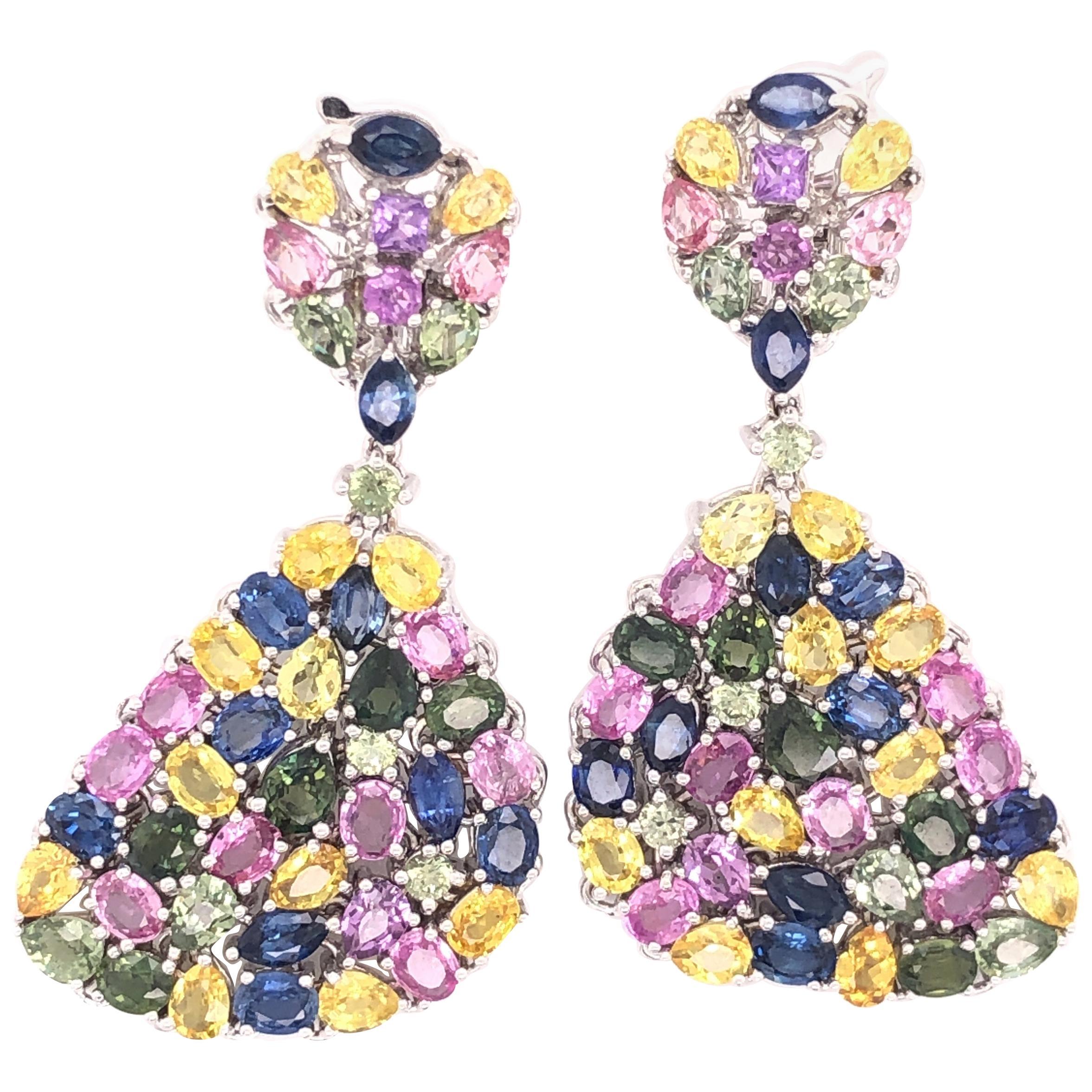 Multi-Color Sapphire Gemstone Dangle Earrings 18 Karat White Gold