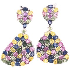 Multi-Color Sapphire Gemstone Dangle Earrings 18 Karat White Gold