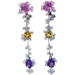 Multi-Color Sapphire Pink, Yellow, and Purple, Earrings