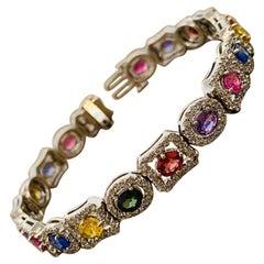 Multi-Color Sapphire Ruby Diamond Gold Bracelet