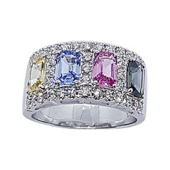 Multi-Color Sapphire with Diamond Ring Set in 18 Karat White Gold Settings