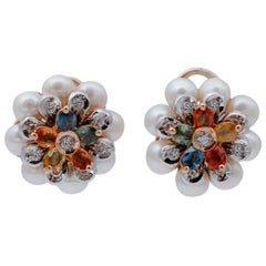 Multi-Color Sapphires, Diamonds, Pearls 14kt White and Rose Gold Flower Earrings