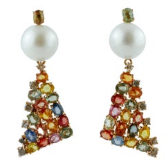 Multi-Color Sapphires, Diamonds Pearls, Rose Gold Fashion Design Dangle Earrings