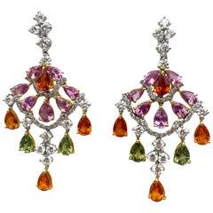 Multi-Color Sapphires Earrings 10.50 Carat with Diamonds 3 Carat F/VS 18K Gold